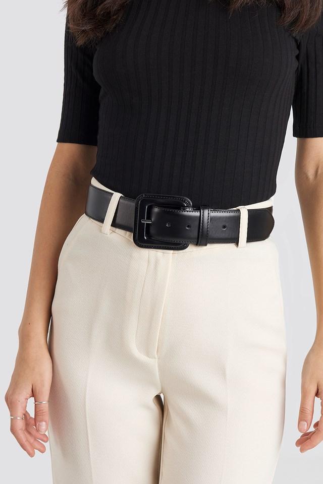 Covered Buckle Waist Belt Black