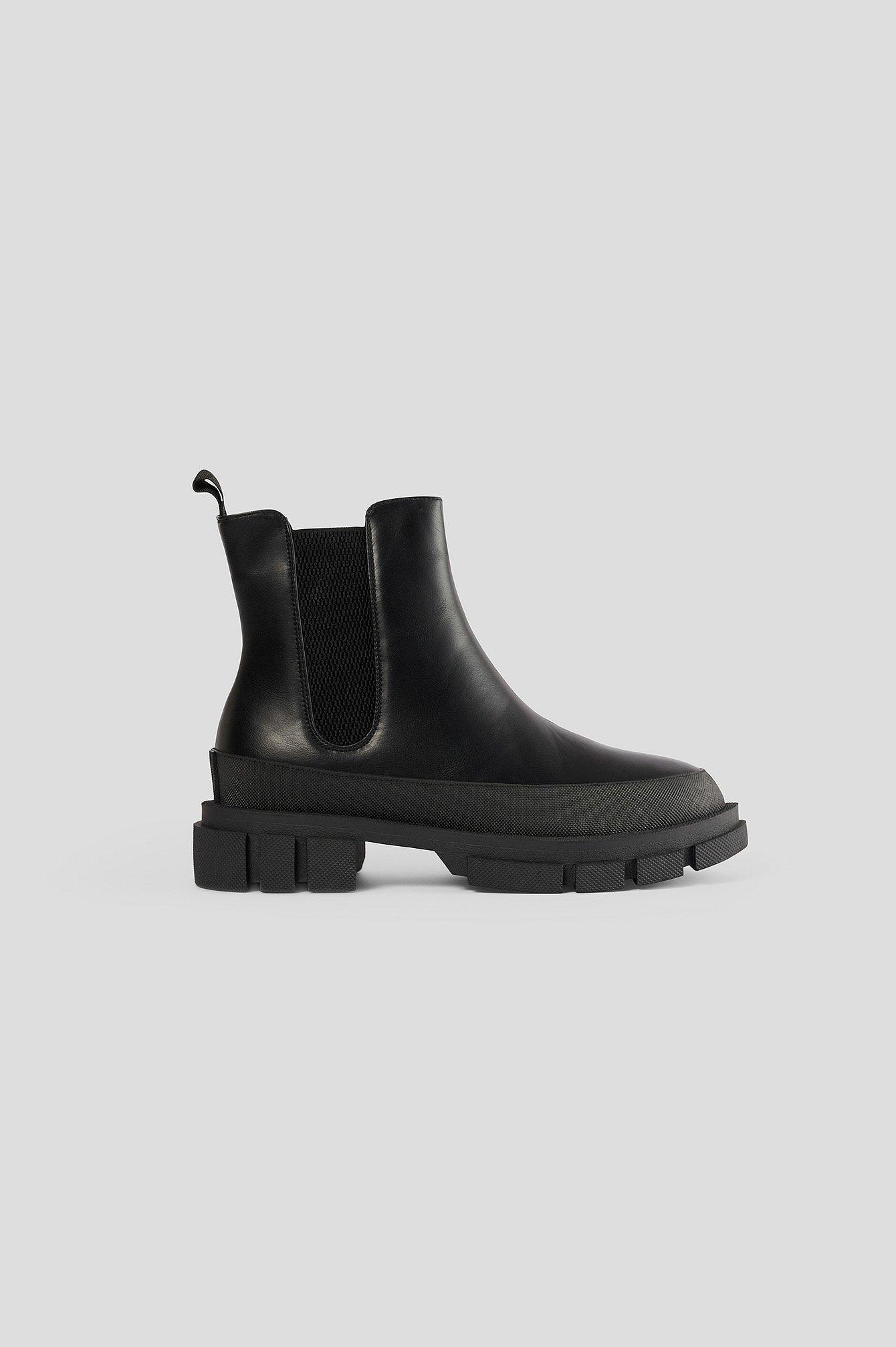 na-kd shoes -  Chunky Boots Mit Gummisohle - Black