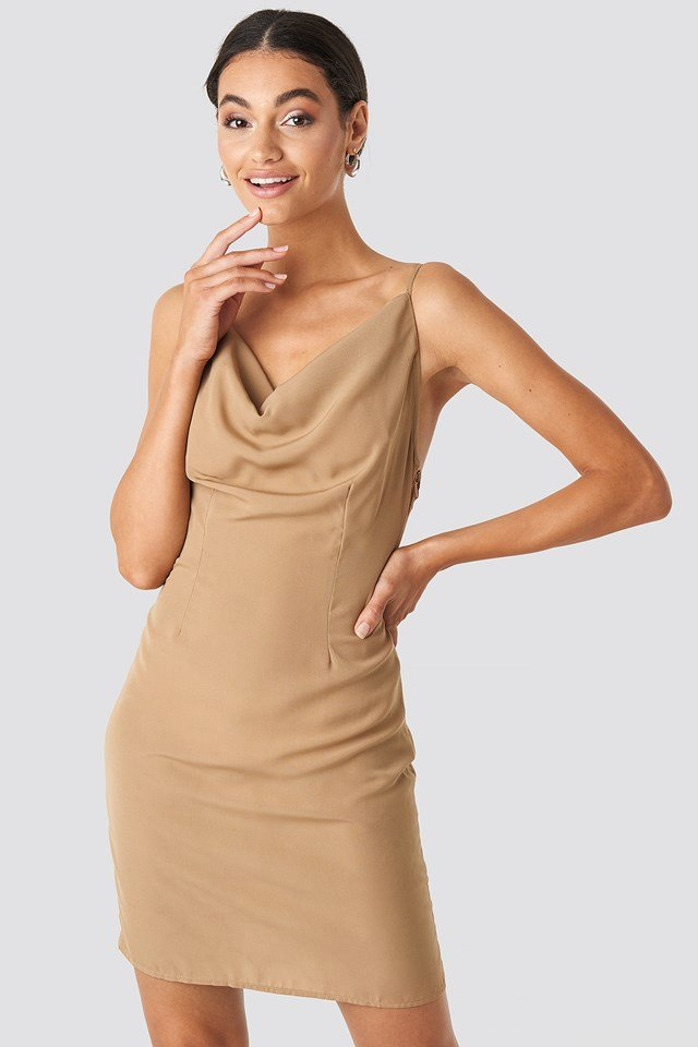 Cowl Neck Mini Dress NA-KD.COM