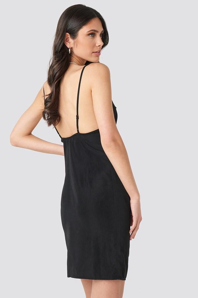 Cowl Neck Mini Dress Black
