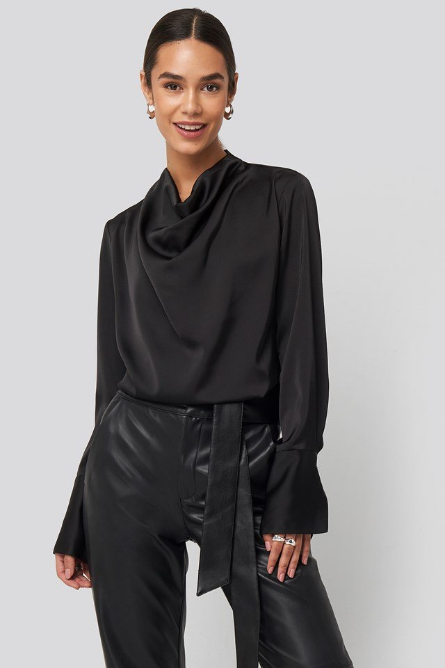 Cowl Neck Satin Blouse Black