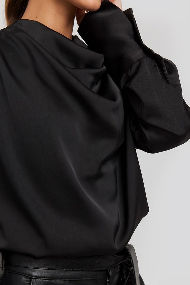 Cowl Neck Satin Blouse Black