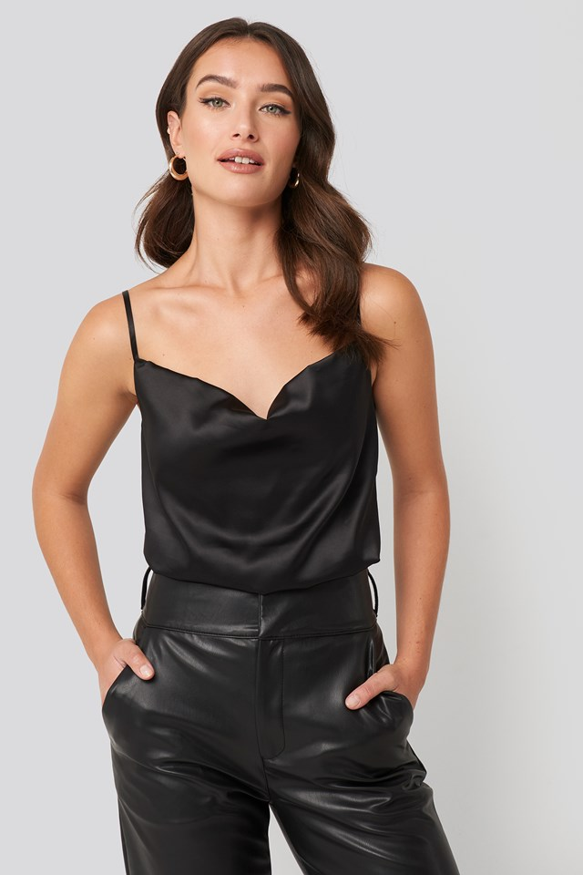 Cowl Neck Satin Cami Top Black