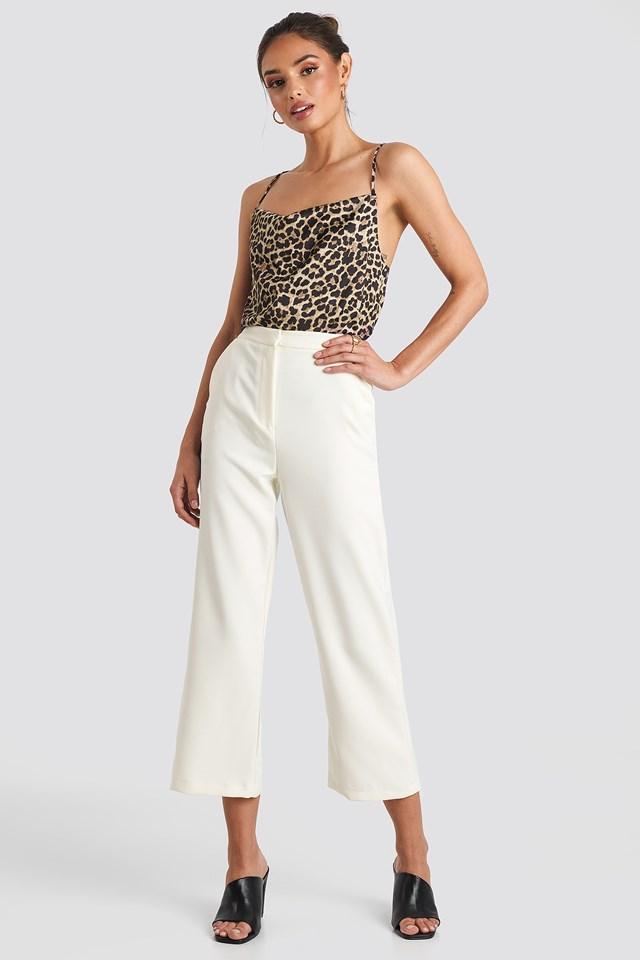 Cowl Neck Satin Singlet Leopard