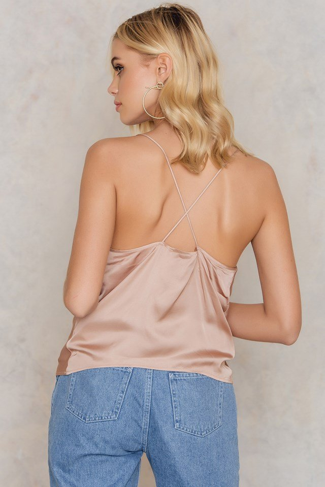 Cowl Neck Singlet Dusty Light Pink