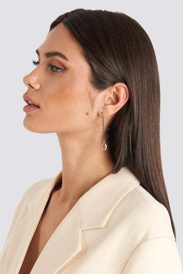 Cowrie Shell Drop Earrings Gold