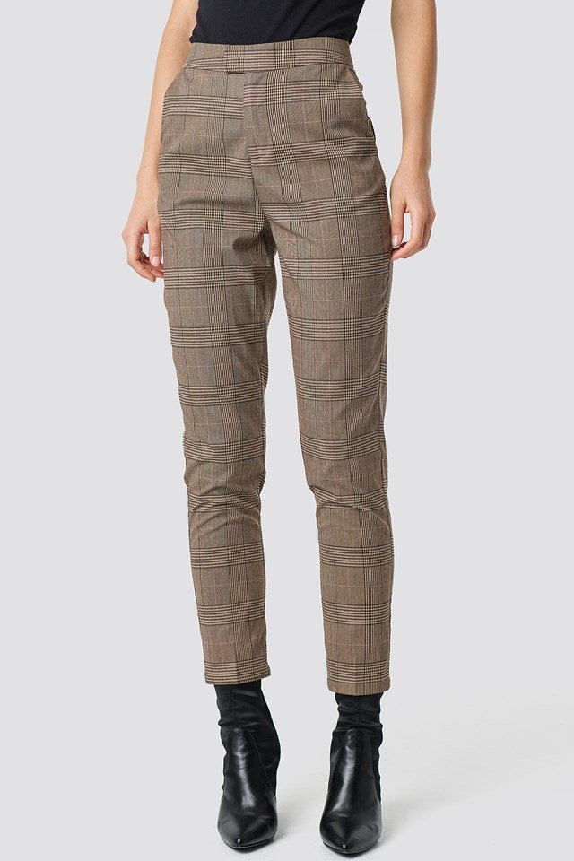 Creased Checkered Suit Pants Brown Check