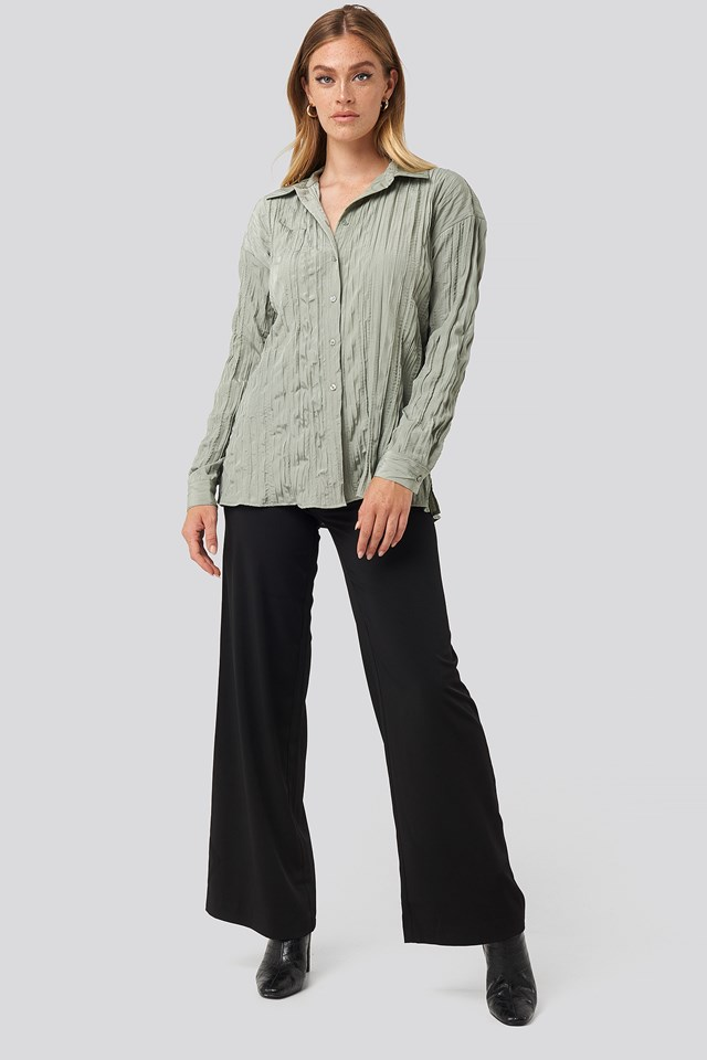 Creased Effect Blouse Dusty Green