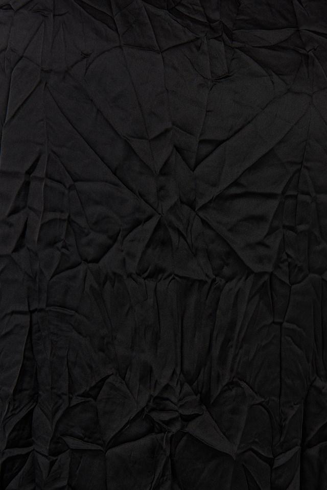 Creased Effect Long Sleeve Mini Dress Black