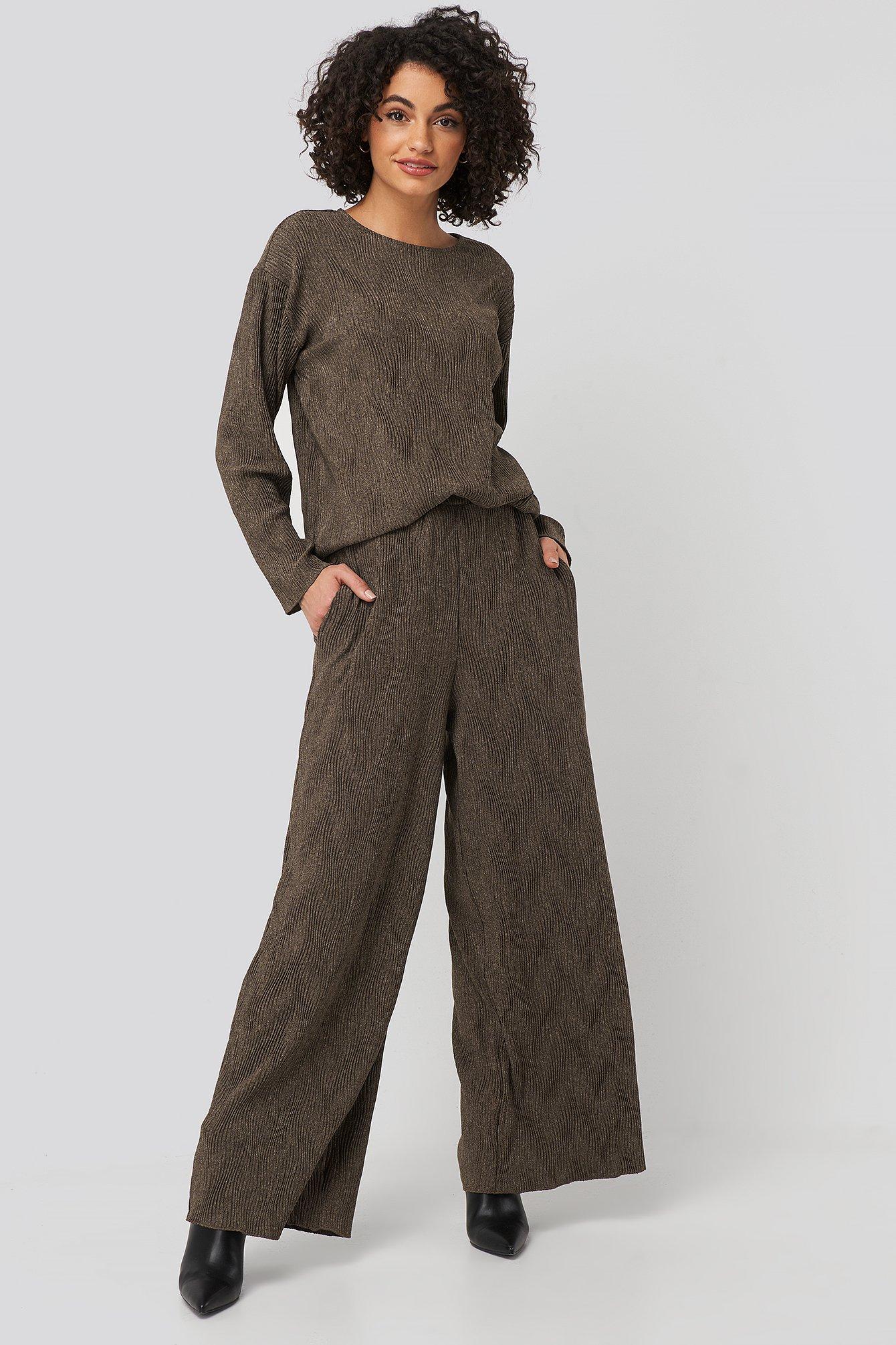 na-kd -  Creased Effect Loose Fit Pants - Brown
