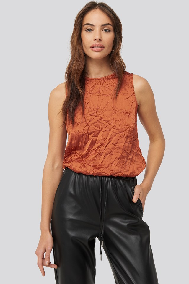 Creased Effect Sleeveless Top Orange