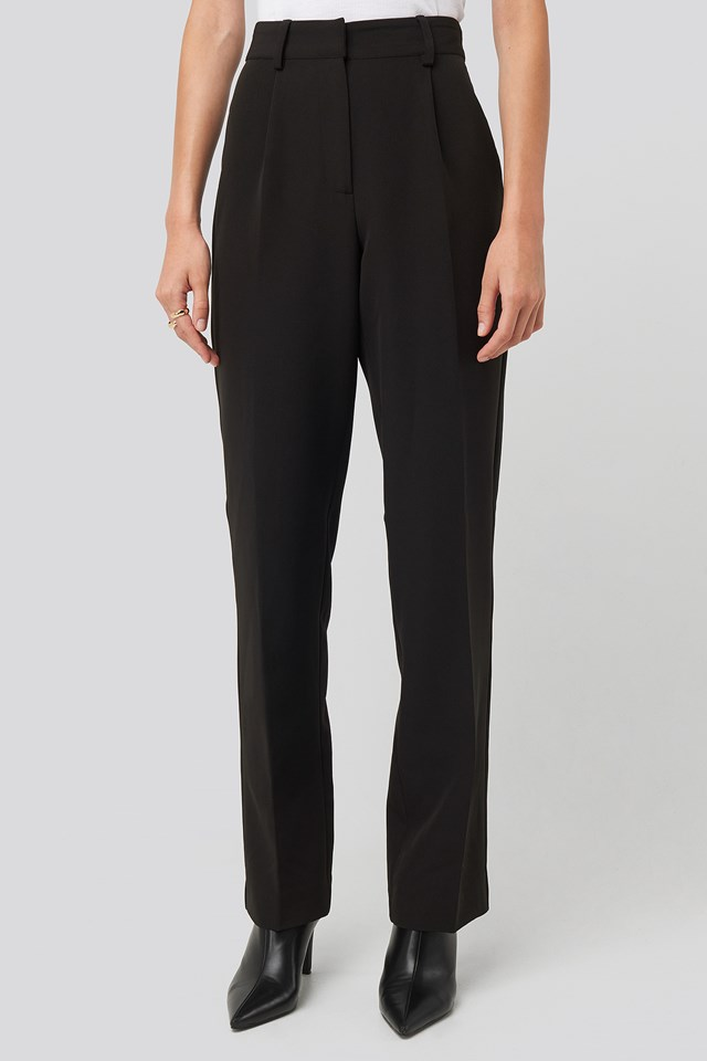 Creased Mid Rise Suit Pants Black
