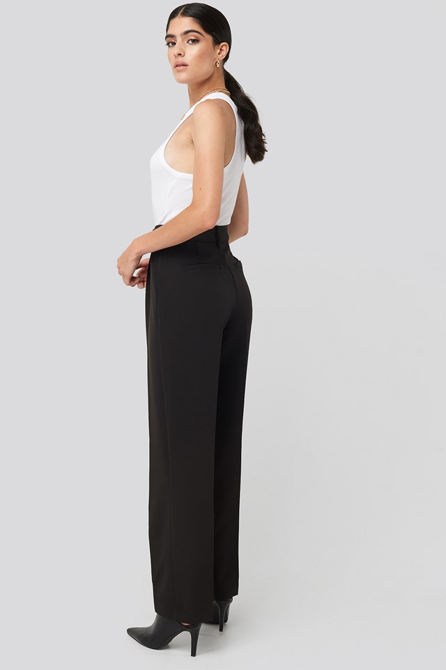 Creased Mid Rise Suit Pants Black