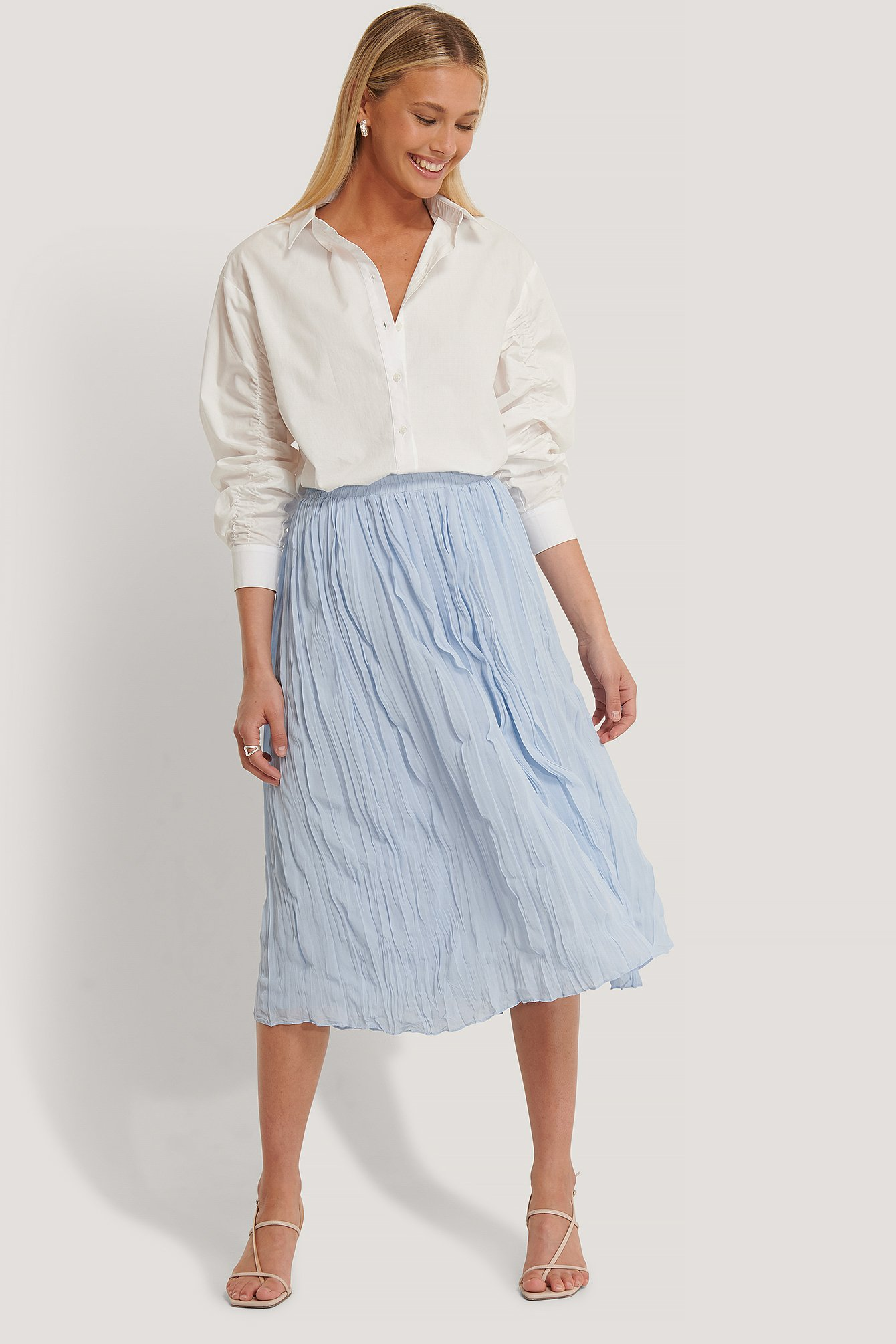 NA-KD Creased Midi Skirt - Blue
