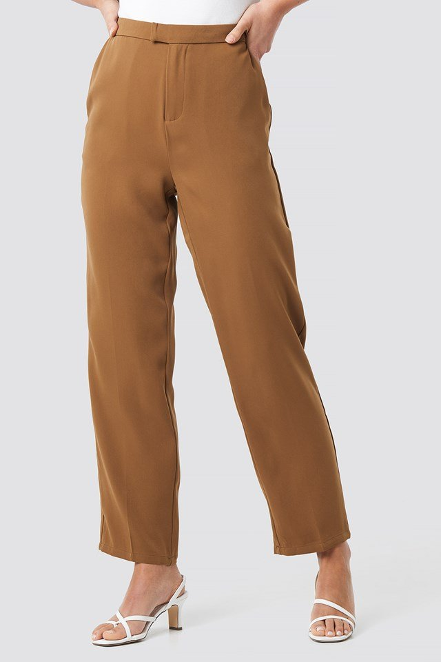 Creased Straight Suit Pants Soft Brown