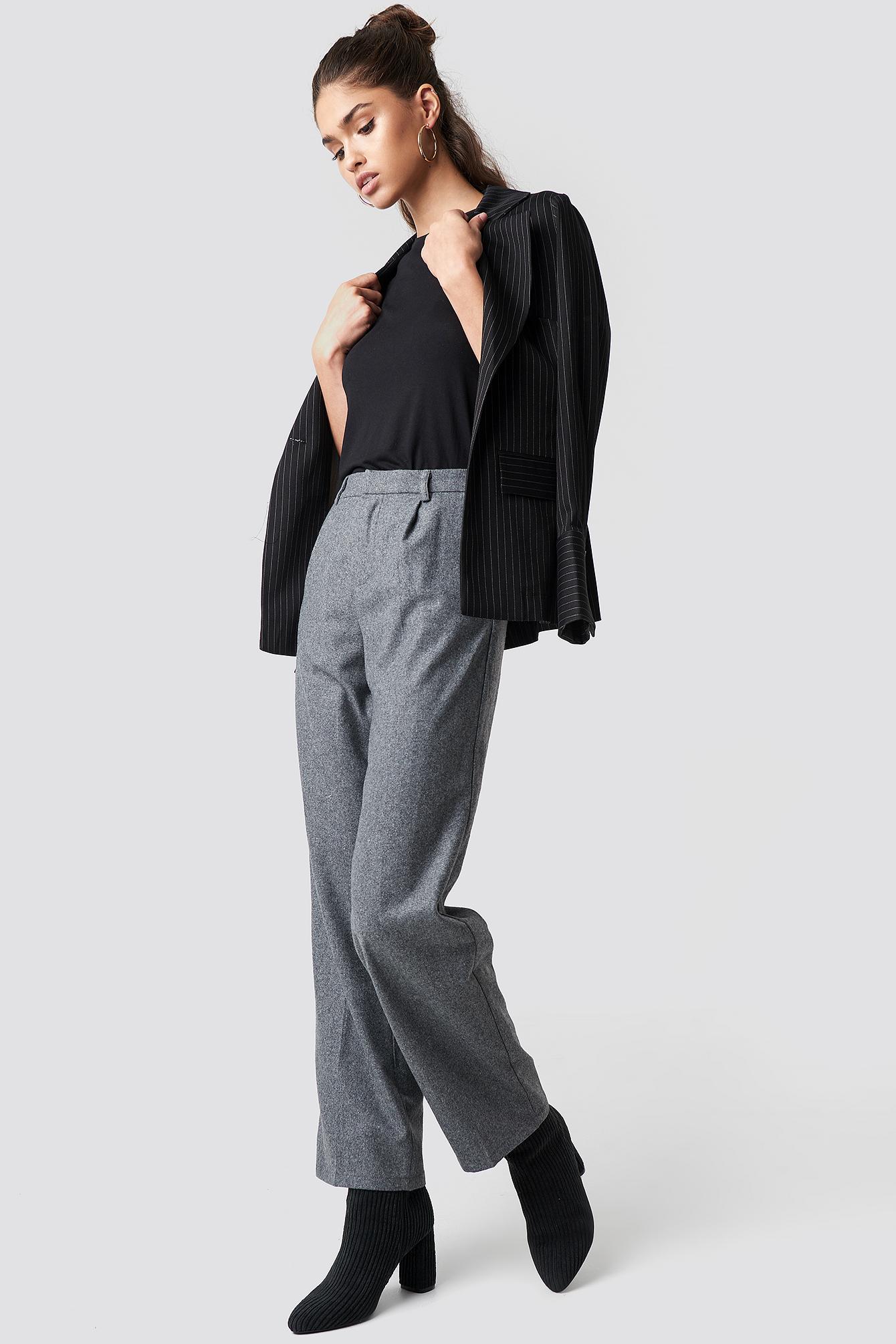 NA-KD Classic Creased Wide Leg Pants - Grey