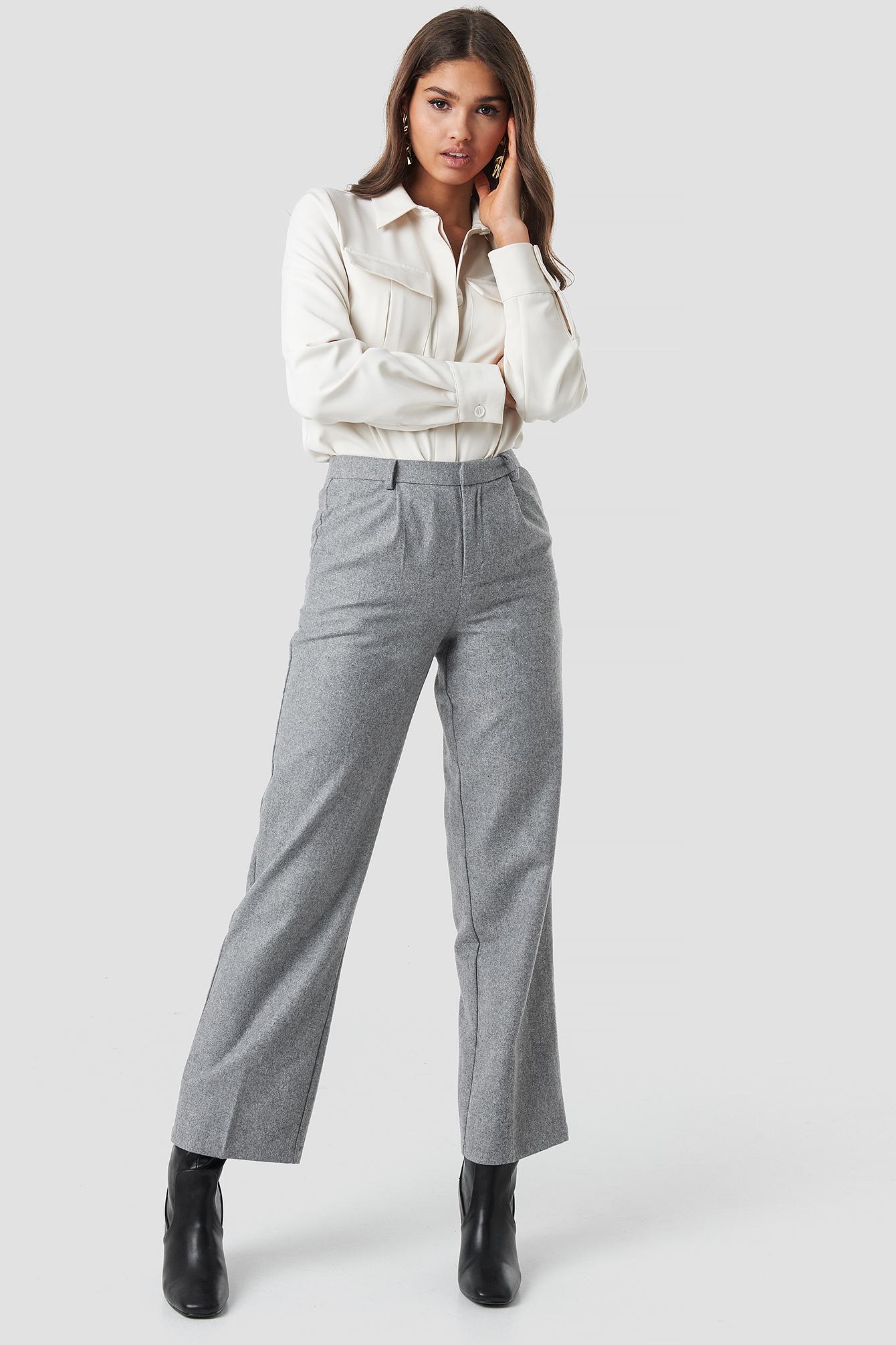 Creased Wide Leg Pants NA-KD.COM