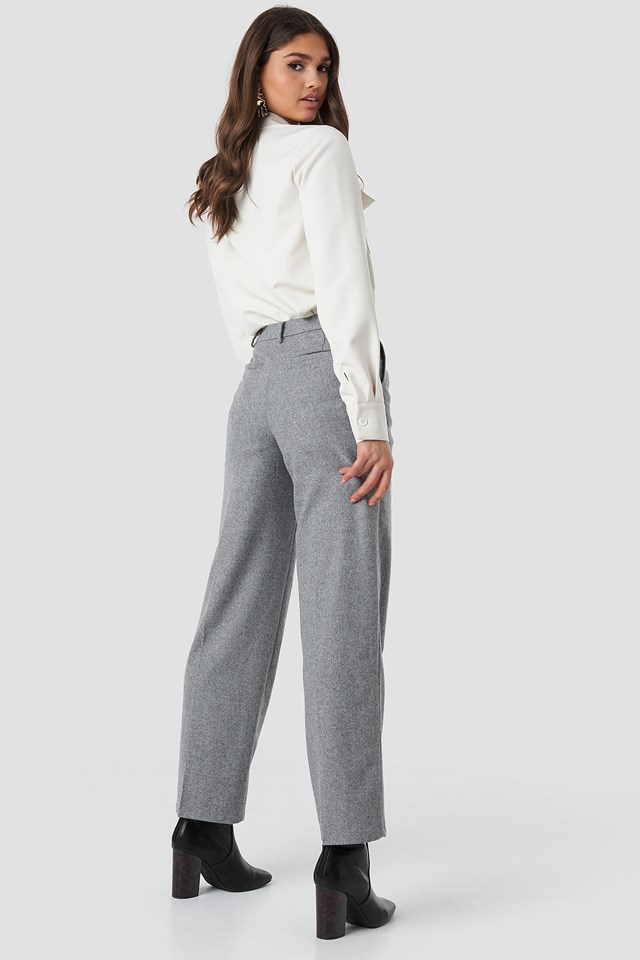 Creased Wide Leg Pants Light Grey