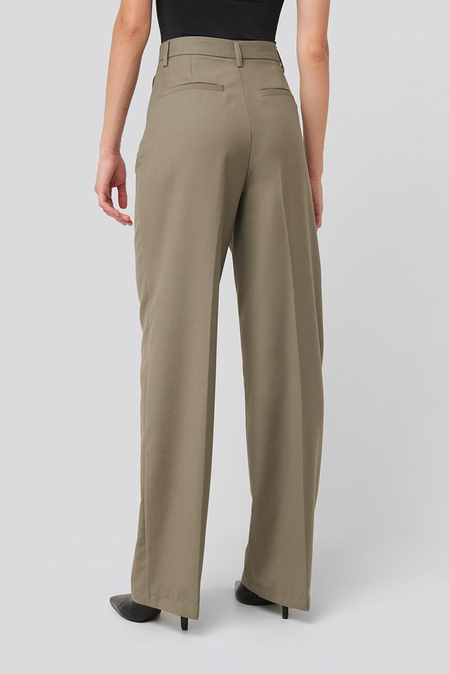 Creased Wide Leg Suit Pants Dark Sand