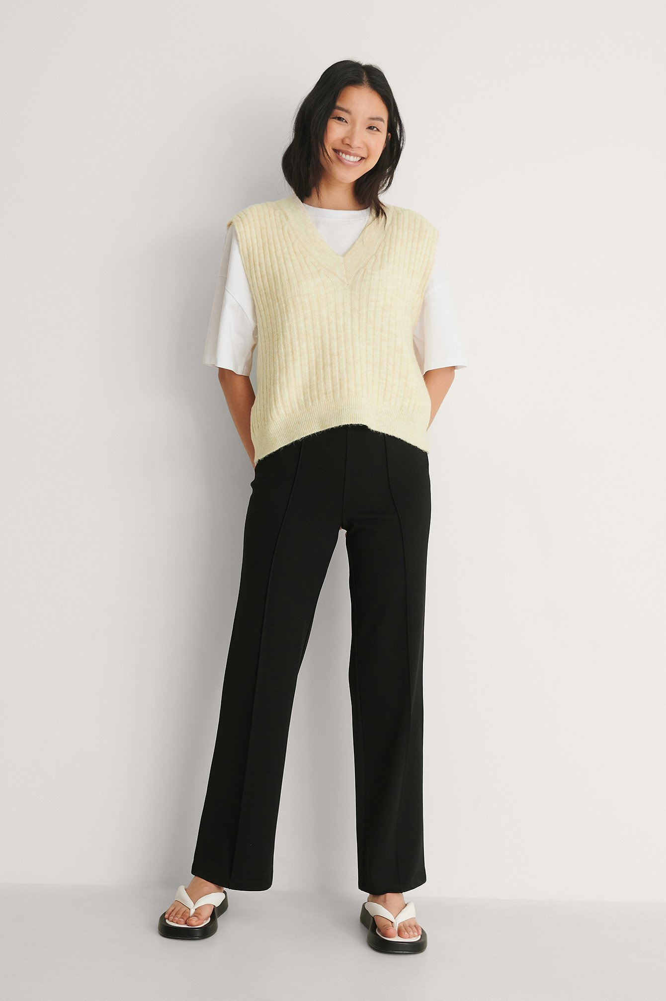 Black Crepe Seam Detail Pants