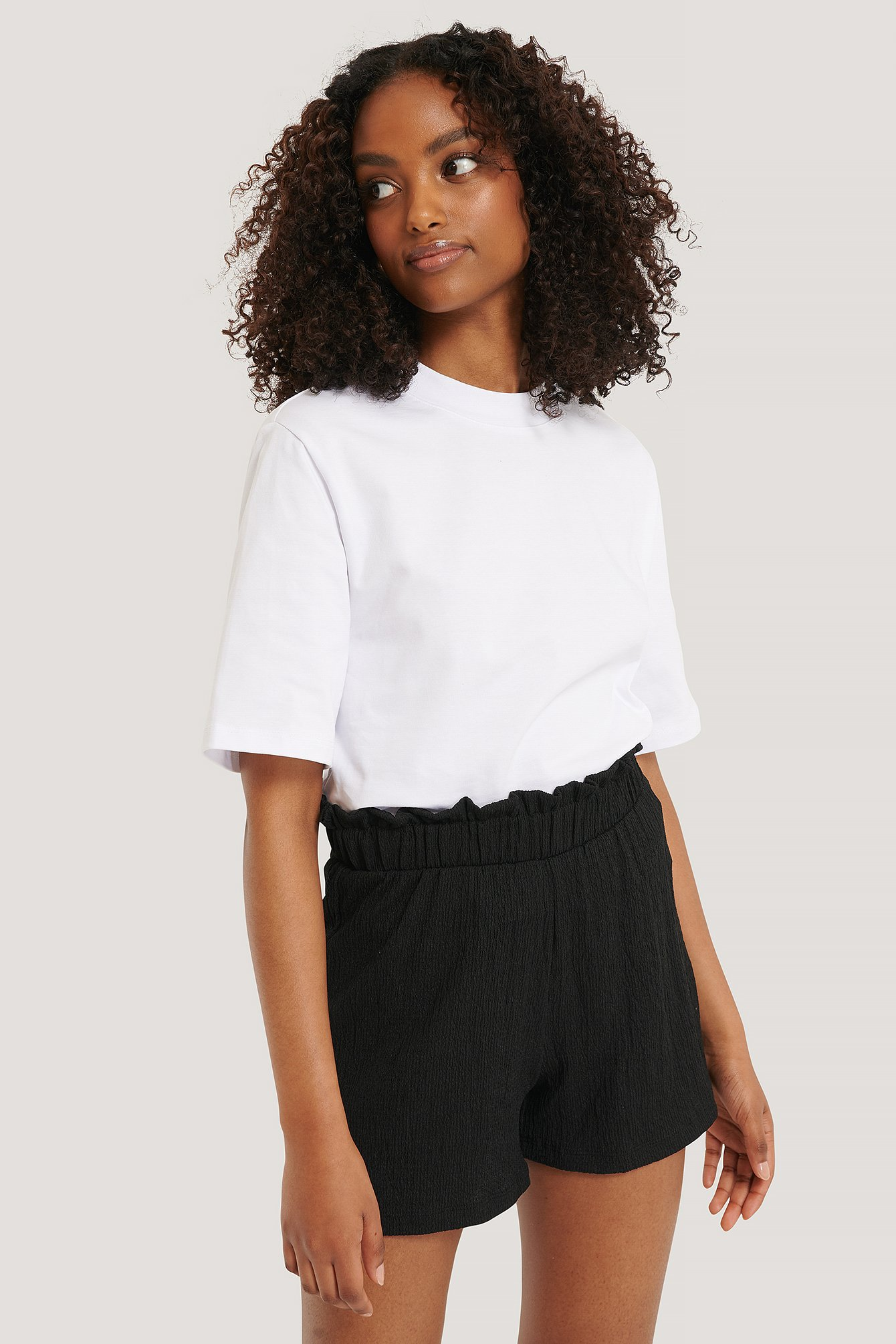 Black Recycled Crepe Smock Frill Shorts