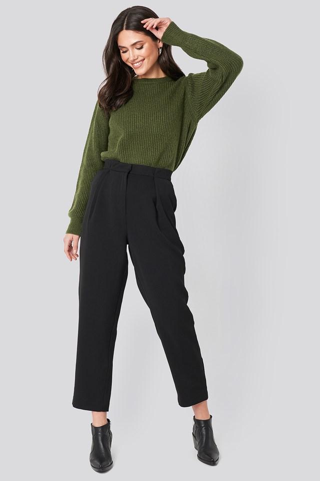 Crew Neck Knitted Sweater Dark Green