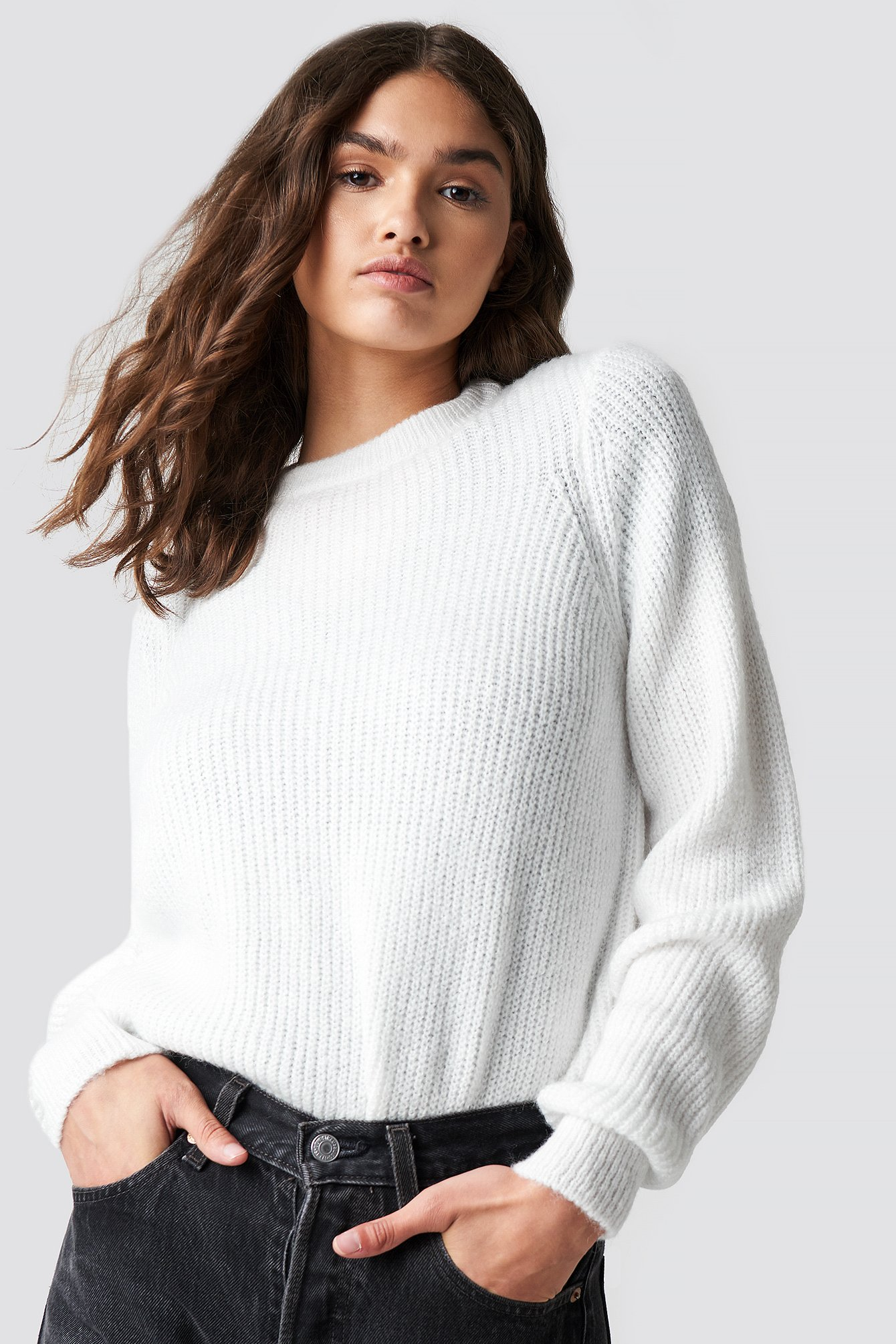 Crew Neck Knitted Sweater Vit by Na Kd