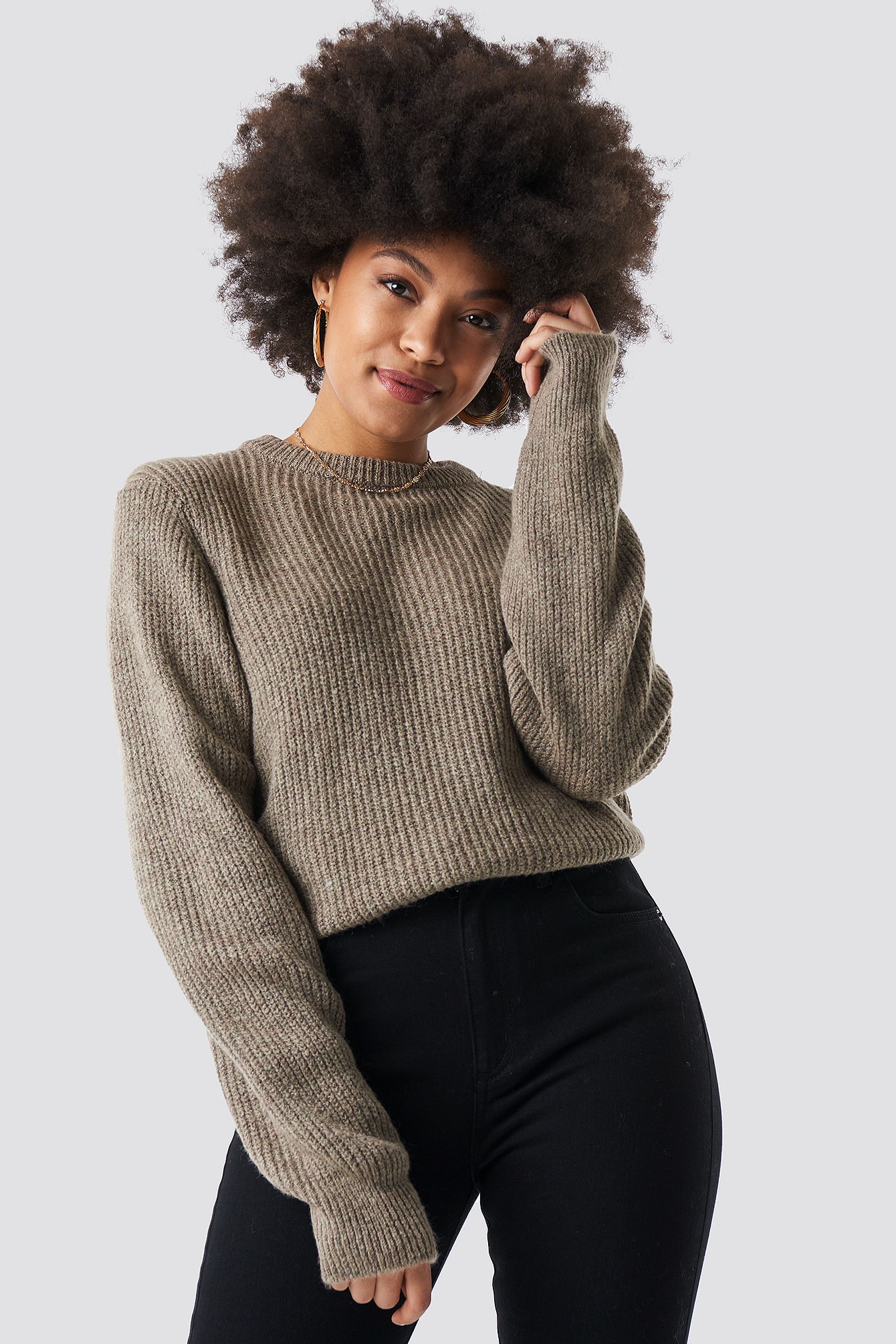 na-kd -  Crew Neck Knitted Sweater - Beige