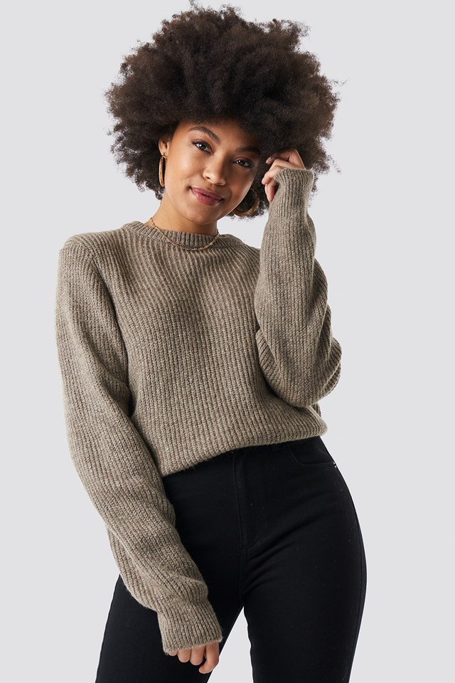 Crew Neck Knitted Sweater Beige