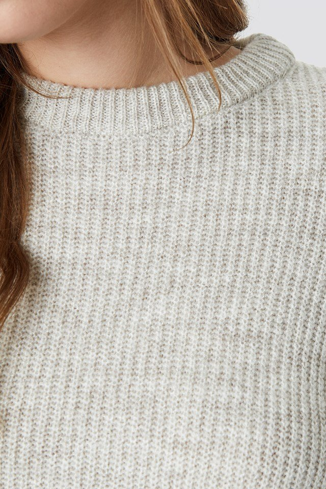 Crew Neck Knitted Sweater Light Grey
