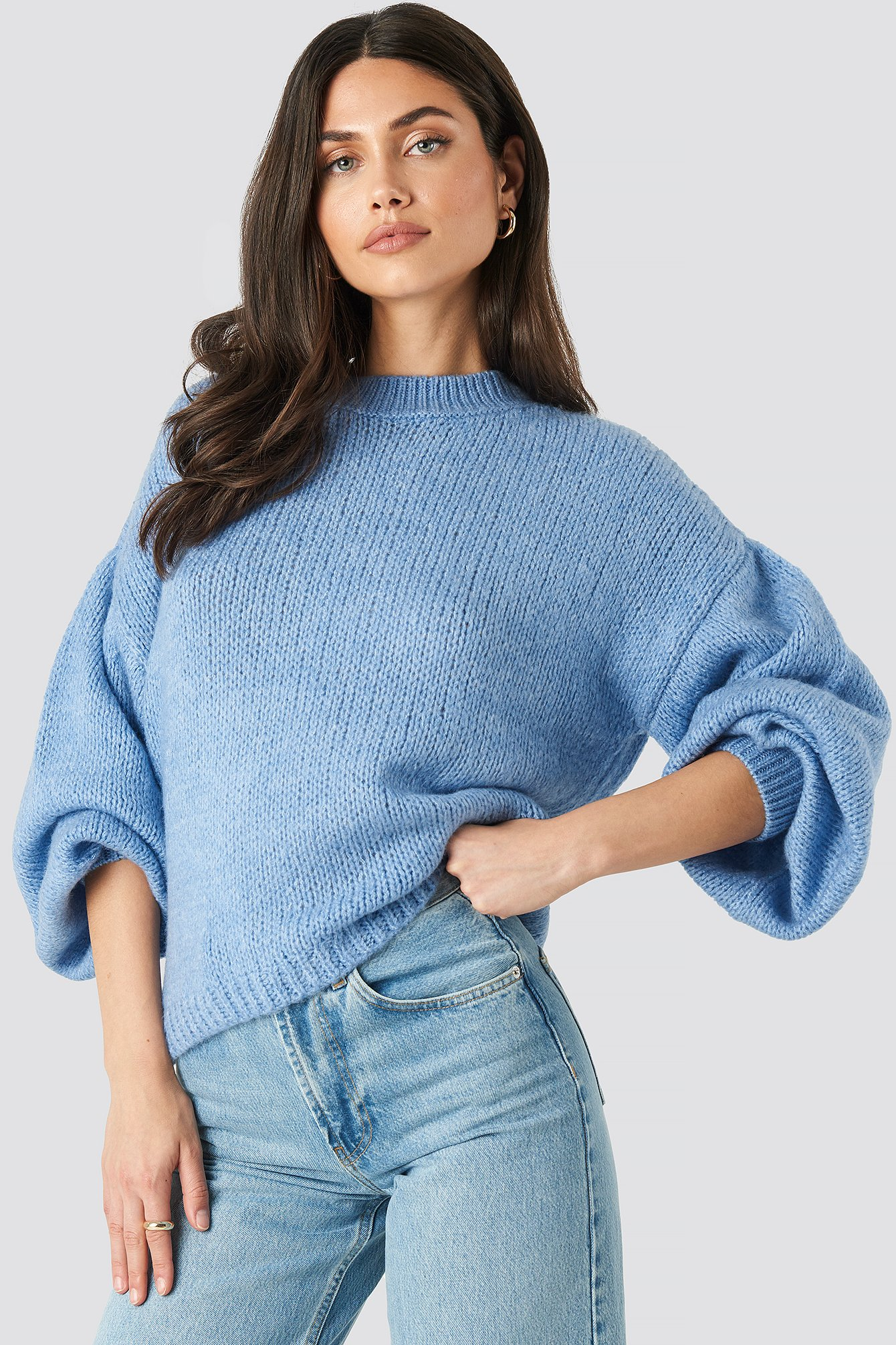 Blue Crew Neck Volume Sleeve Knitted Sweater
