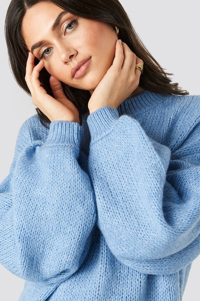 Crew Neck Volume Sleeve Knitted Sweater Blue