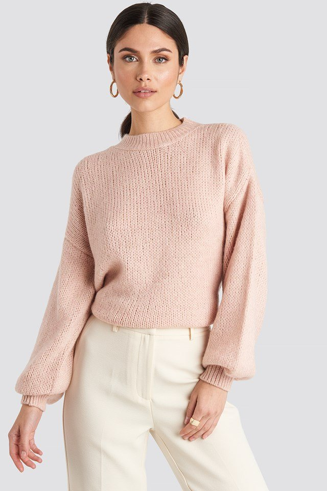 Crew Neck Volume Sleeve Knitted Sweater NA-KD