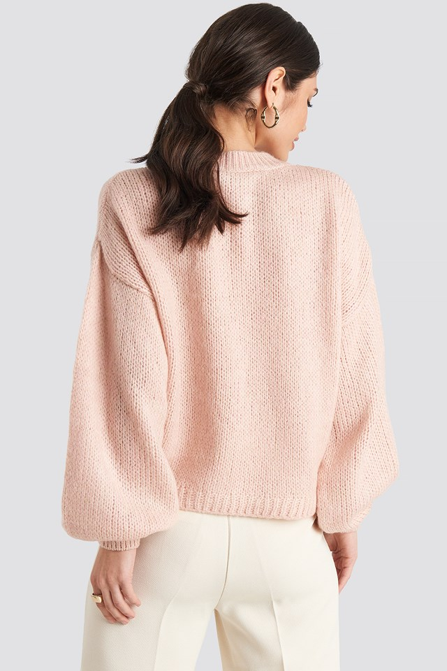 Crew Neck Volume Sleeve Knitted Sweater Light Pink