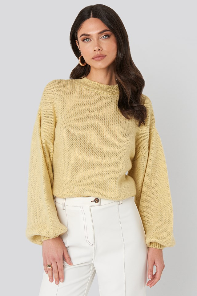 Crew Neck Volume Sleeve Knitted Sweater Light Yellow