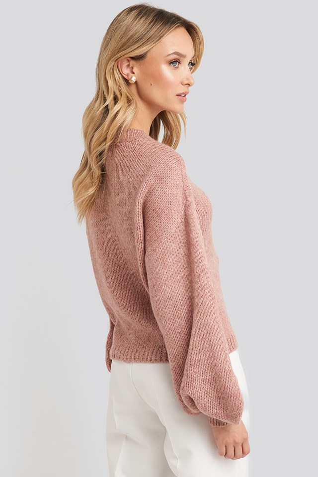 Crew Neck Volume Sleeve Knitted Sweater Peachy Rose