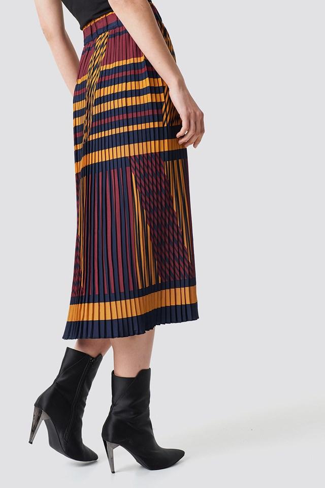 Criss-Cross Stripes Pleated Skirt Stripe Print
