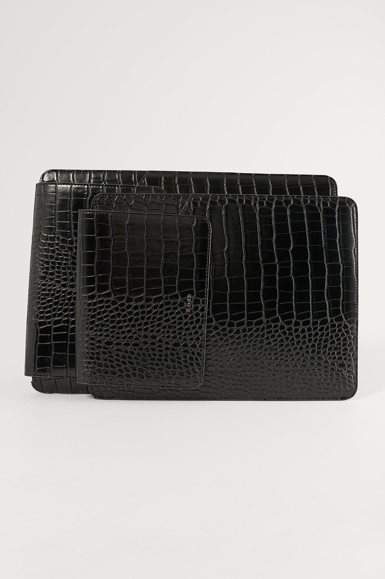 na-kd accessories -  Krokoeffekt Laptop-Tasche - Black