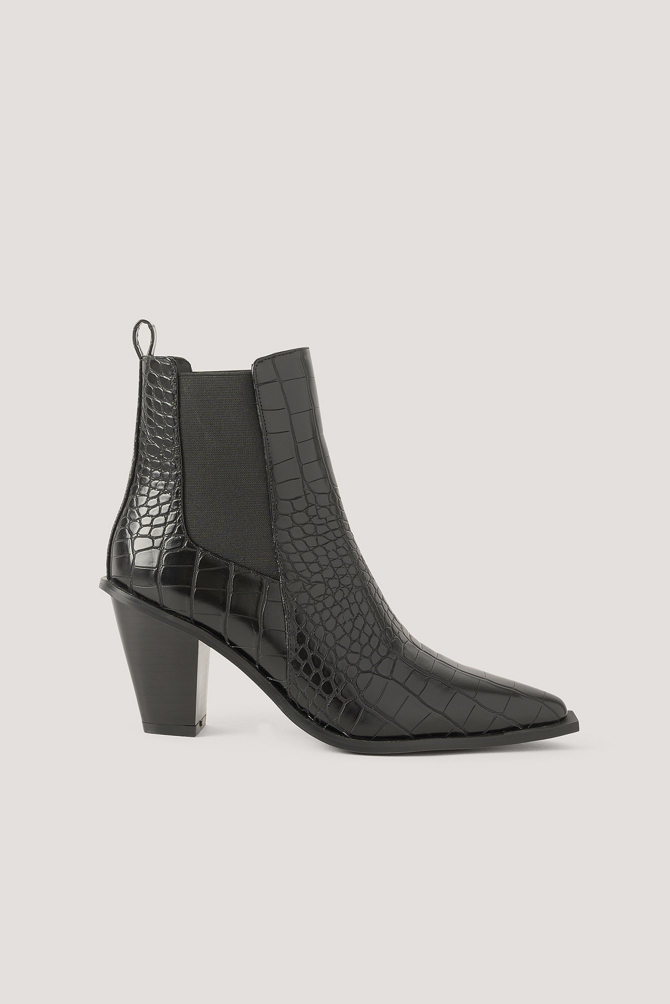 Na-Kd Shoes Croc Pointy Block Heel Boots - Black