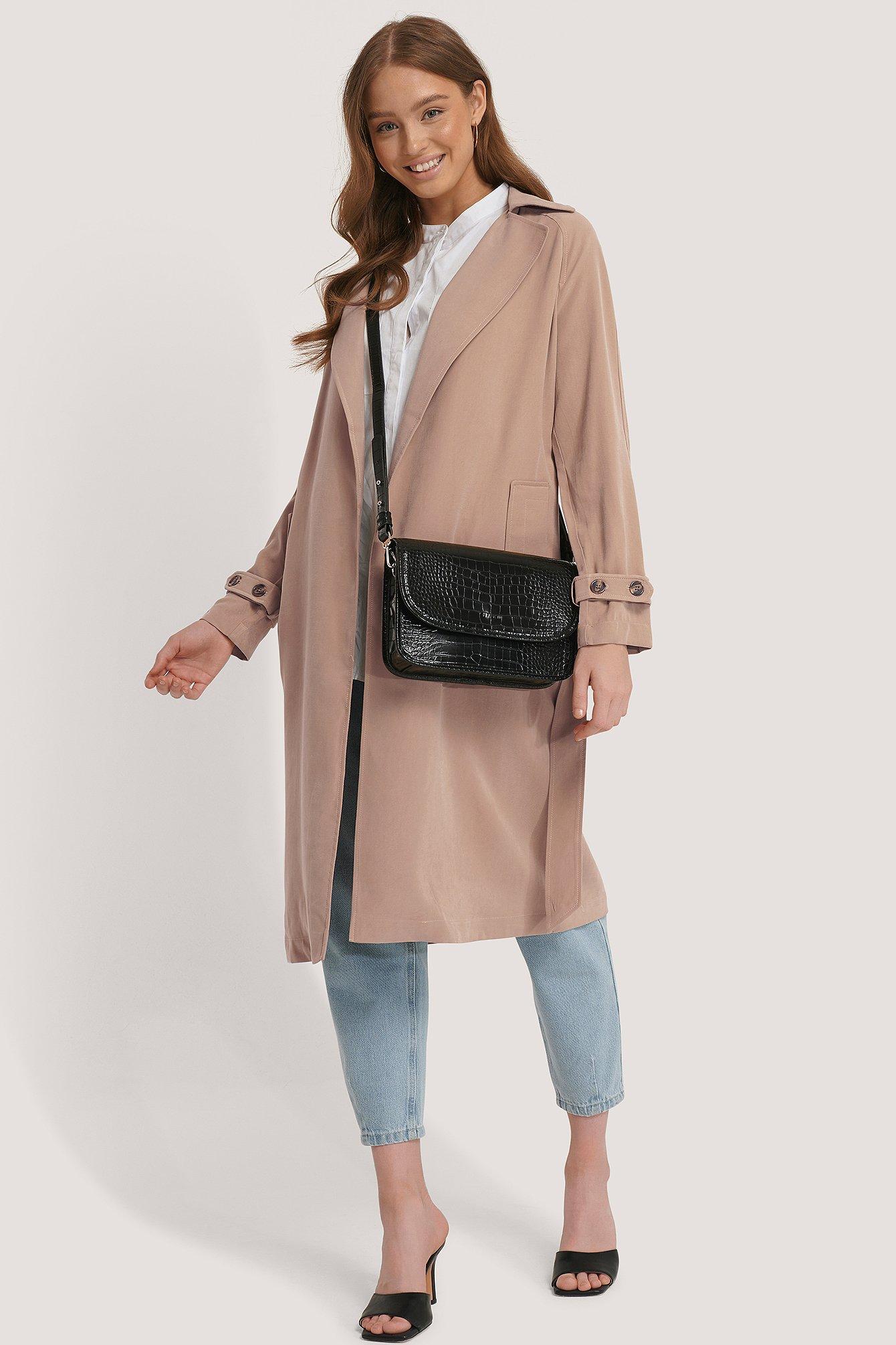 na-kd accessories -  Croc Shoulder Bag - Black