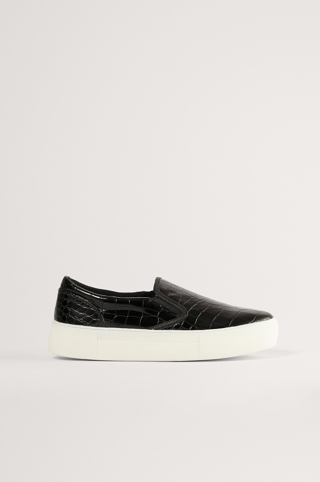 Black Croc Slip In Trainers