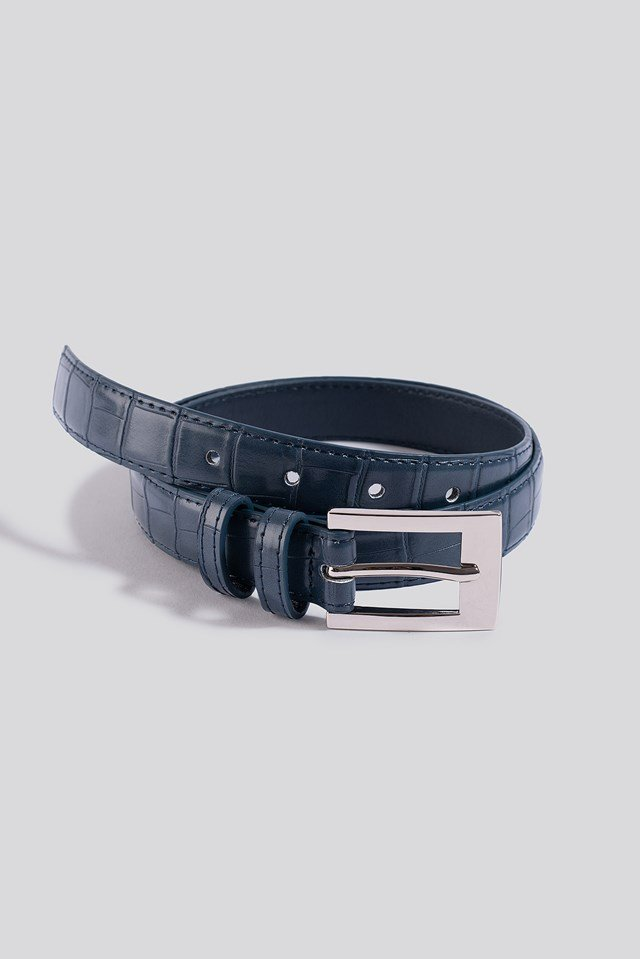 Croc Slim Rectangular Belt Dark Dusty Blue