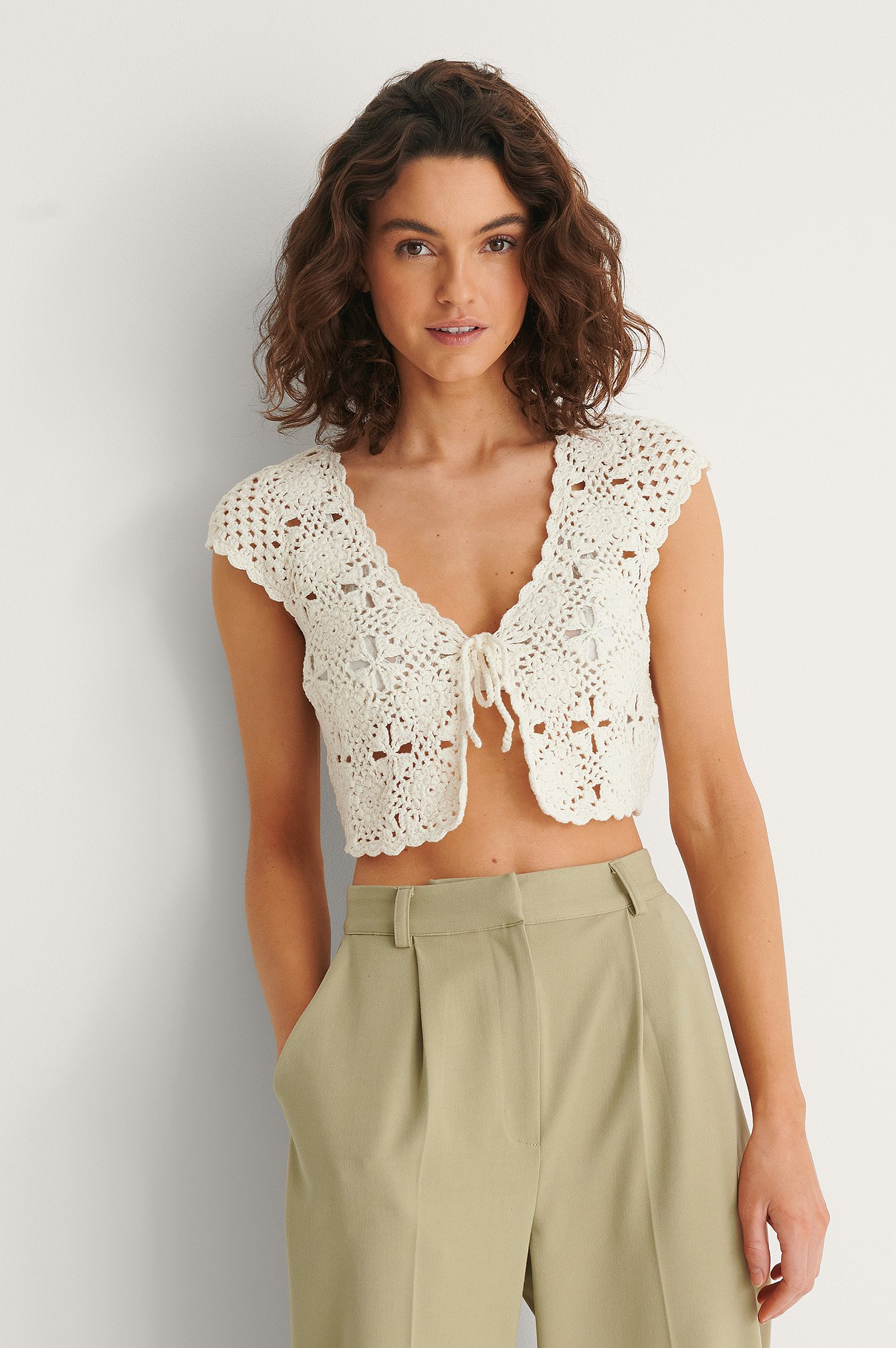 White Crochet Cropped Cardigan