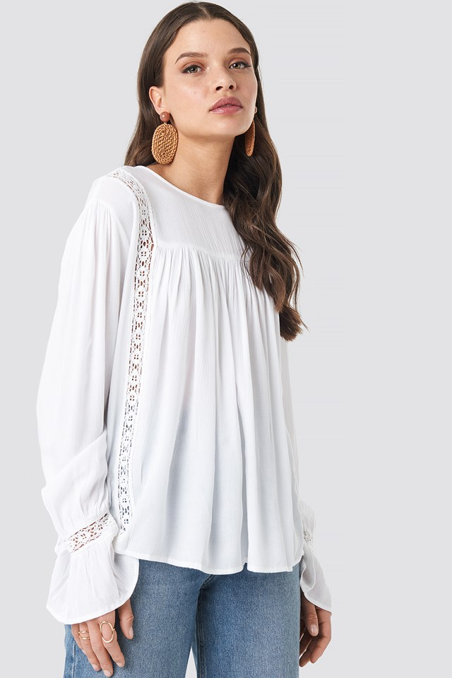Crochet Detail Flowy Cotton Top White