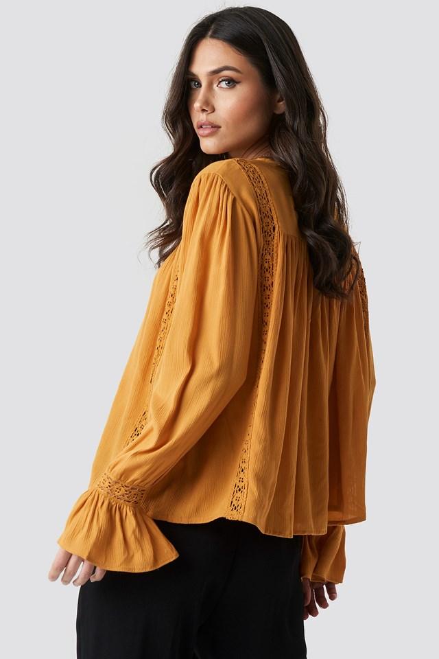 Crochet Detail Flowy Cotton Top Mustard Yellow