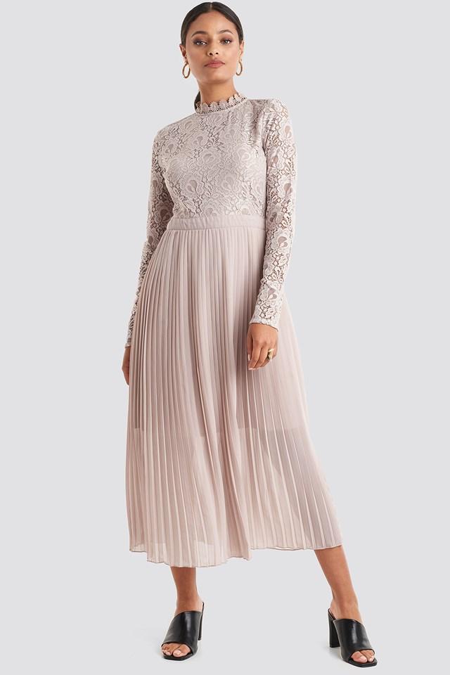 Crochet Detail Pleated Dress Dusty Pink