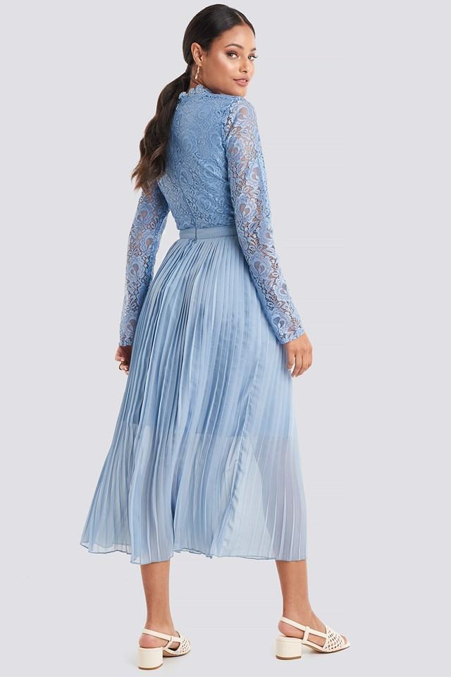 Crochet Detail Pleated Dress Dusty Blue