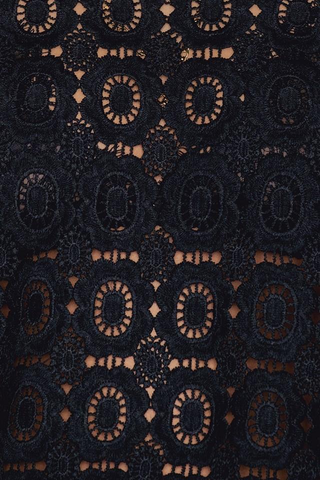 Crochet High Neck Blouse Black
