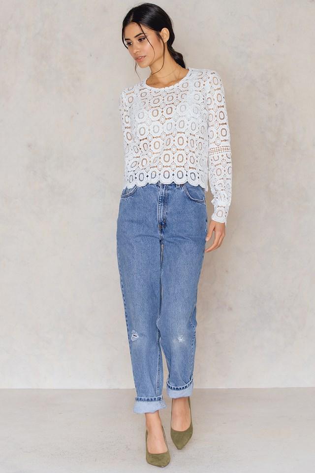 Crochet High Neck Blouse White
