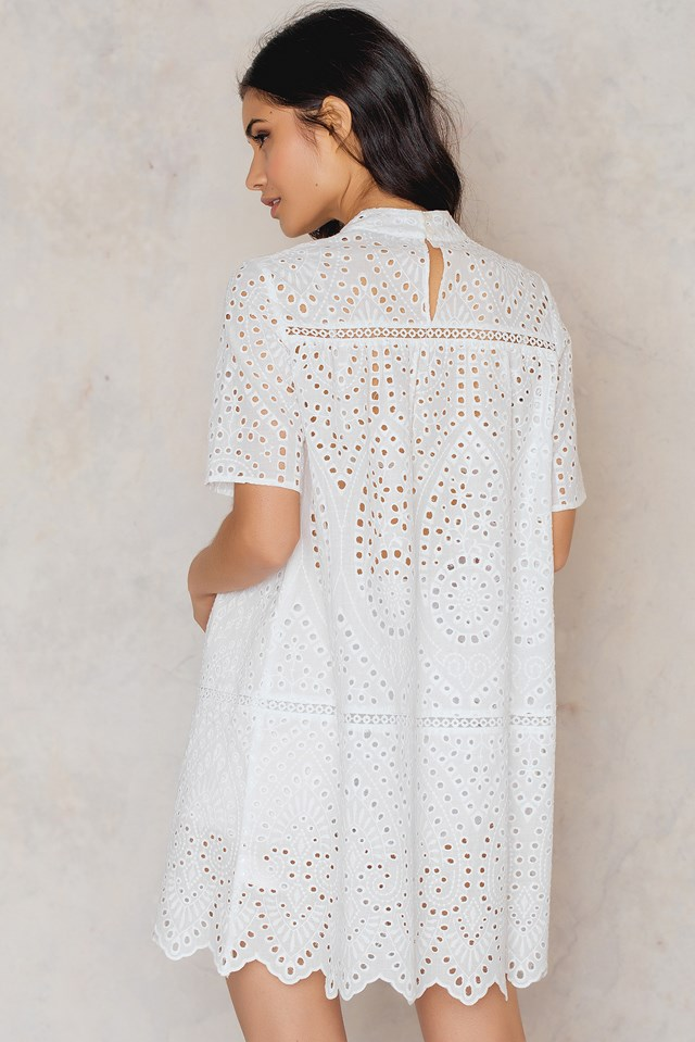 Crochet High Neck Dress White